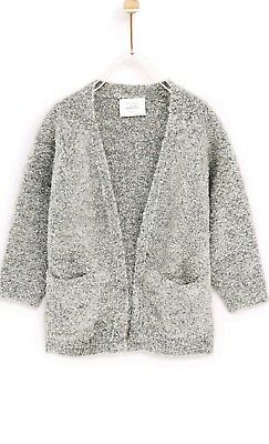 Nwt zara baby girl toddler long cardigan winter sweater wool gray size 9-12 mths