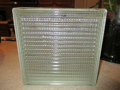 Vintage GLASS SQUARE BRICK Tile WINDOW WALL BLOCK  7 3/4 x 7 3/4 x 3 3/4