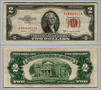 1953B $2 Dollar Bill Old Us Note Legal Tender Paper Money Currency Red Seal Z205