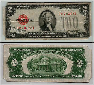 1928D $2 Dollar Bill Old Us Note Legal Tender Paper Money Currency Red Sl Z-334