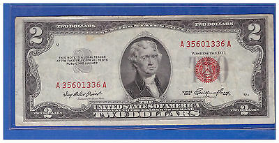 1953 $2 Dollar Bill Old Us Note Legal Tender Paper Money Currency Red Seal M766