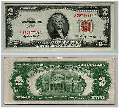 1953 $2 Dollar Bill Old Us Note Legal Tender Paper Money Currency Red Seal Q612