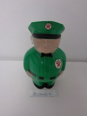 Texaco Oil Company 1950's Hard Plastic Fat Man Coin Bank With Advertising Plug