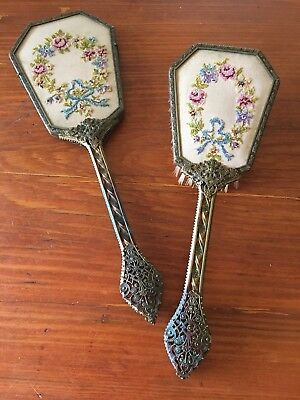 Antique Embroidered Hand Mirror And Brush Set