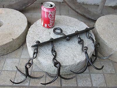 Antique Wrought Iron 4 x Triple Rare Hook Hanger Blacksmith Made Farm Barn Tool