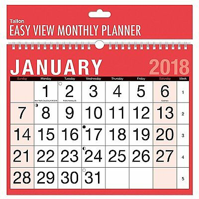 2019 A4 Easy Month To View Spiral Bound Wall Planner Calendar - Landscape 3802