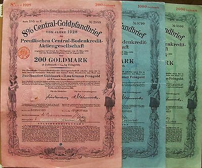 Lot of 3 different. German bond. 8% Central Gold Mortgage 1928. Due 2/1929**