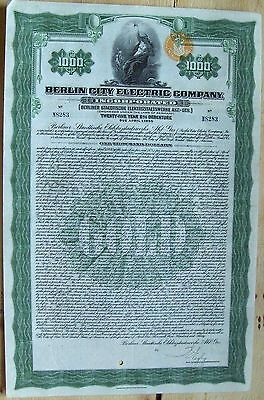 """German Bond """"City of Berlin, Electric Company"""". $1000 1930 cancelled"""