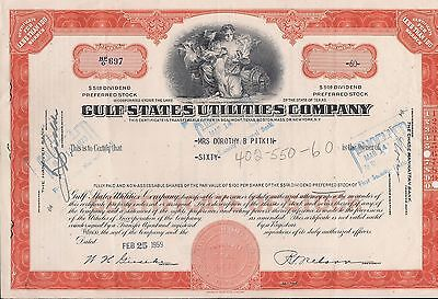 Stock certificate Gulf States Utilities Company Texas back with 2 papers 60 shar