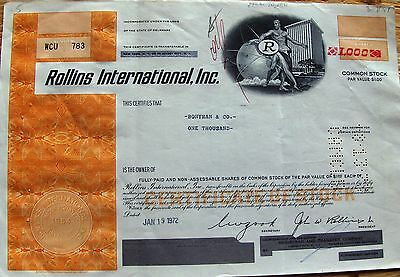 USA stock certificate Rollins International, Inc  Delaware 1000 shares 1972 *