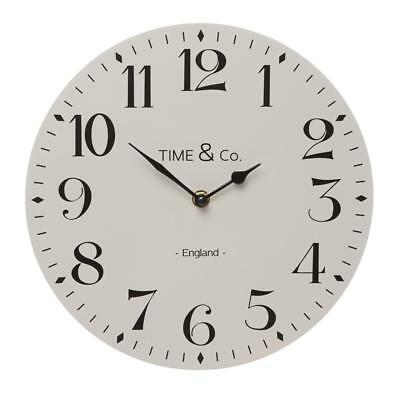Vintage Style White & Black Time & Co London Wooden Kitchen Wall Round Clock
