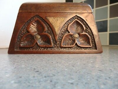 Arts and Crafts Period Carved and Brass Inlaid Oak Casket/Box C1900