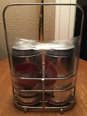 Coca Cola Coke Salt & Pepper Metal Shaker Set + Holder/Caddy/Rack~New Old Stock