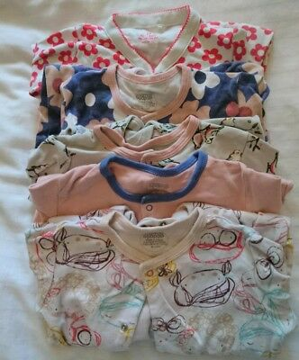 9-12 Months Baby Girls Sleepsuits Babygrows Clothes Bundle Mamas And Papas & M&s