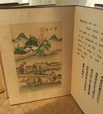 Chinese Rare Antique Book Lu Yu Sing Foochow 12 Watercolour Paintings The Story