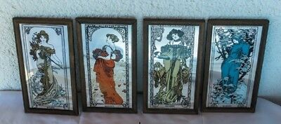 Alphonse Mucha Art Nouveau Style Reproduction, Mirrors 4 seasons, wooden frames