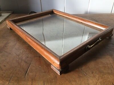 Vintage French Art Deco Cocktail Tray Wooden Glass Base Brass Handles 30s 40s