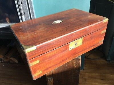 Antique Wooden Campaign Writing Slope Box TLC to restore brass secret drawers
