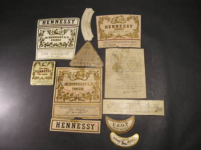 Old Hennessy Cognac Bottle Label Collection
