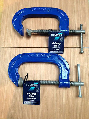 "2 X ECLIPSE G CLAMP 4"" 100mm HEAVY DUTY E20-4"