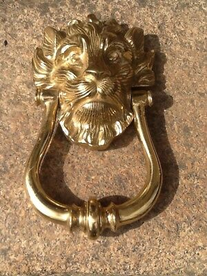 Solid Brass, Large Lion Head, Door Knocker, No 10. Very Heavy