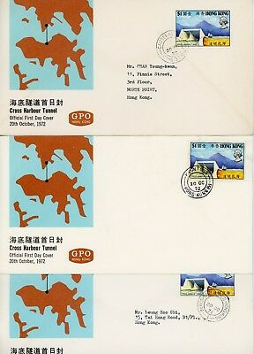 3 Hong Kong, First Day Covers, Cross Harbour Tunnel, 1972, Rare Cancels