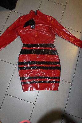 latex dress Kleid NP:320 little rubber cherry uniform unikat one off burlesque