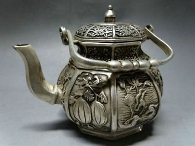 Chinese Copper Handwork Carve Lotus Pond Scenery Teapot Nice