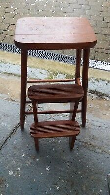 Vintage Kitchen Stool / Folding Step Wooden  Mid century Retro kitchen