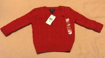 NWT Ralph Lauren Infant Girls Cable Knit Sweater Size 18M