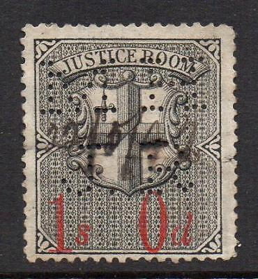 "LONDON MUNICIPAL , COURT-JUSTICE ROOM STAMP,1 SHILLING, PERFIN ""HMJR"" USED,(t18)"
