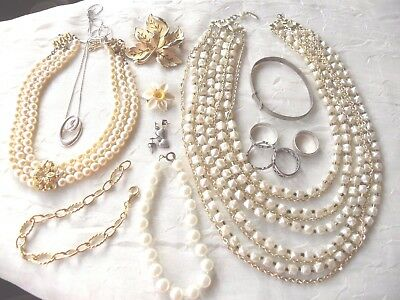 Mixed lot of vintage and modern costume jewellery, silver, rolled gold, pearls