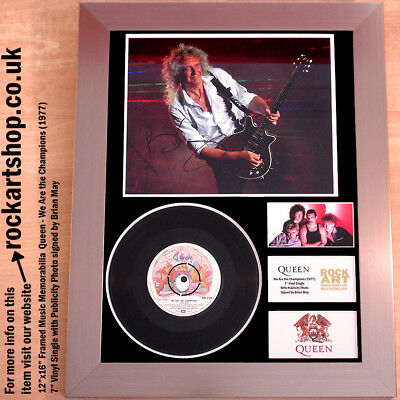 """QUEEN We Are The Champions 7"""" Vinyl Single SIGNED BRIAN MAY Autograph WORLD SHIP"""