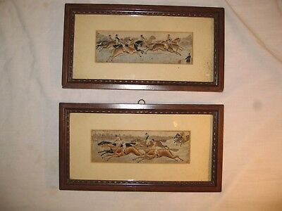 Antique Pair Stevengraph Silk Pictures The Start The Finish Horse Racing