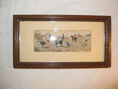 Antique Stevengraph Fox Hunting Silk Picture the Meet Horses