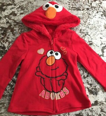 Nwt Toddler Girl Elmo Hooded Sweater Size 5T