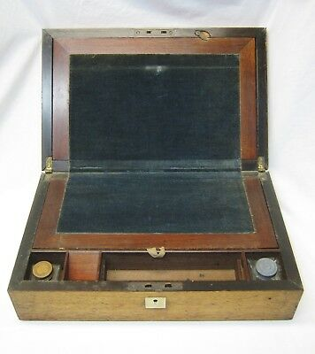 Mid-19th Century Wooden Lap Desk Writing Document Box Brass Lock + Two Bottles