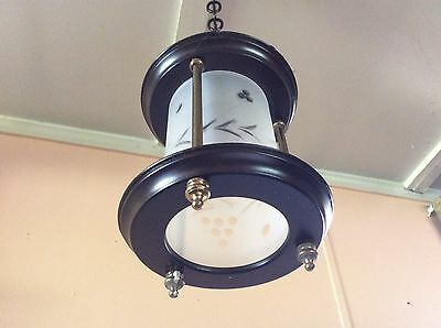 Vintage Lightolier Hanging Lantern Hall Foyer Light Frosted Etched Glass 1930s