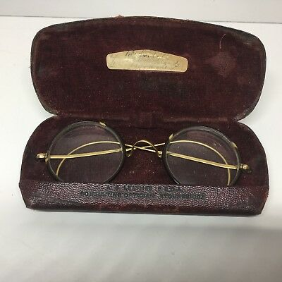 Vintage Rolled Gold Round Rim John Lennon Style Spectacles Glasses with Case