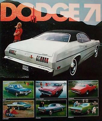 1971 Dodge Charger Challenger Super Bee Dart Demon Coronet Monaco FL Brochure