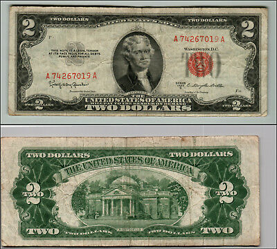 1953C $2 Dollar Bill Old Us Note Legal Tender Paper Money Currency Red Seal Z168