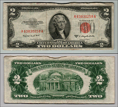 1953B $2 Dollar Bill Old Us Note Legal Tender Paper Money Currency Red Seal Z197