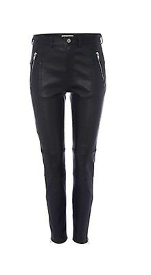 Whistles Navy Stretch Leather Trousers Size 8 Worn Twice