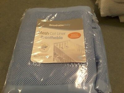 Breathable Baby AirflowBaby  4 SIDED Cot / Cotbed Liner Bumper Blue