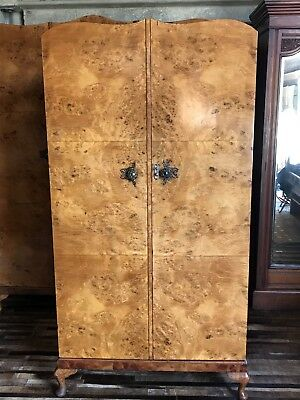 Art Deco Gents Birds Eye Maple And Walnut 2 Door Fitted Wardrobe Armoire
