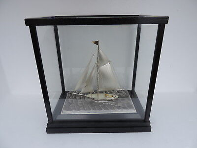 Finest Vintage H-Crafted Japanese Solid Sterling Silver Boat Yacht Ship Japan