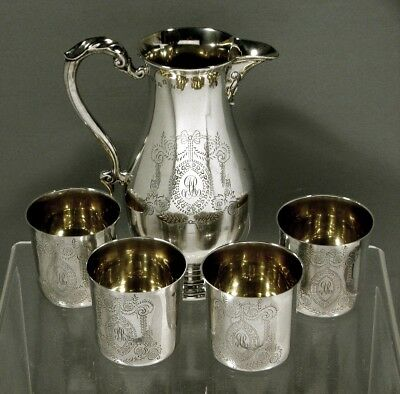 "Irish Sterling Drinks Set      "" Beer Pitcher & 4 Beakers ""        53 Ounces"