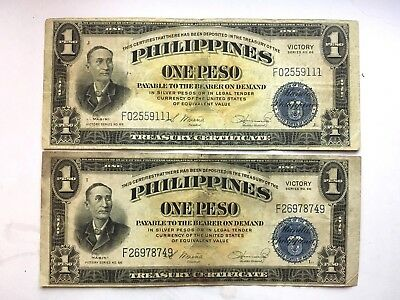 2 1944 US Philippine Victory 66 1 Peso notes US backed Blue Seal In USA no delay