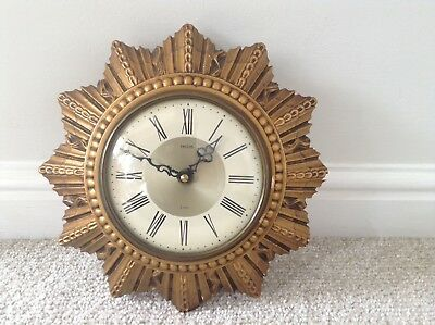 Rare Vintage Smiths 8 Day Wall Clock Sunburst / Starburst Collectable