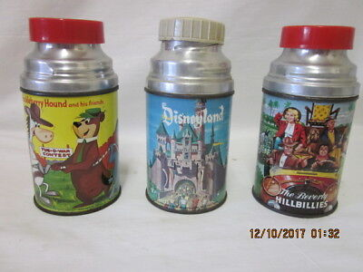 (3) Vtg 60's Aladdin Thermoses Beverly Hillbillies, Hucklerry Hound & Disney